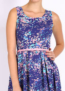 mast & harbour blue printed fit & flare dress