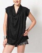 short sleeve solid black top
