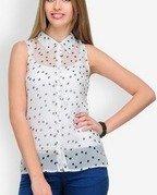 anasazi women white polka dot print shirt