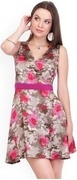 belle fille brown & pink printed fit & flare dress