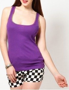 sleeve less solid purple top