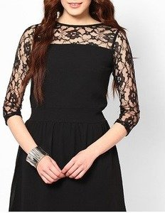 black georgette party dress with lace net 34th sleeve