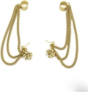 trinketbag cuff chain and flower alloy cuff earring
