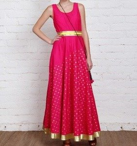 pink cotton silk gown