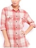cat women red & offwhite checked casual shirt