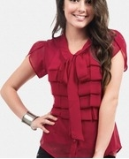 red shirt with strip ruffles and petal sleeves
