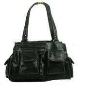 bagizaa black multipocket leather handbag