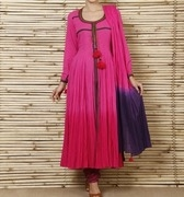 pink shaded cotton anarkali suit