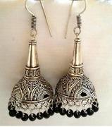 silver tokri n cone jhumkas with black beads