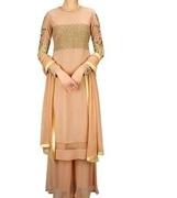 bhumika sharma nude jaal and rose embroidered straight kurta set