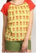 short sleeve printed yellow top