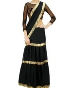 chhavvi aggarwal black gota border sari with embroidered blouse