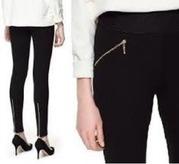 zara style elasticated waist zip stretch full length leggings trousers anisha