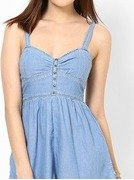 light blue solid halter dress
