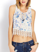 botanical floral crocheted top