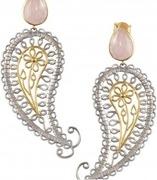 silver rose paisley earrings