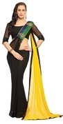 black yellow embroidered faux georgette saree with blouse (1509)
