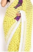 anamica yellow georgette fashion saree