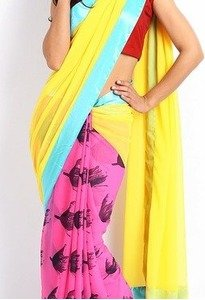 mysilk yellow & pink georgette fashion saree