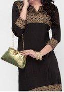 viscose knit black kurta