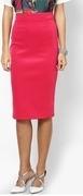 high waisted hot pink skirt