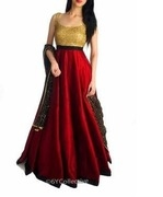 burgandy raw silk gown with sequins