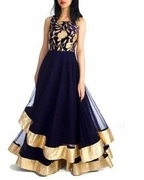 midnight blue layered gown