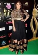 indian designer bollywood actress replica huma black partywear anarkali
