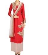 aneesh agarwaal crimson red zardozi embroidered kurta set