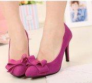 bowknot embellished shoes rose