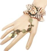 gothic style golden lace italy design bracelet with ring for women