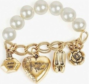 heart and pearl charm bracelet