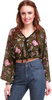 Sassafras Casual 3/4th Sleeve Floral Print Women's Green Top