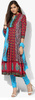 a blue anarkali kurta in blended cotton silk base with with colorful aari work all over with round neck and key hole back. It comes along with an orange dupatta in net with floral aari embroidery and has pink borders and hanging tassels.