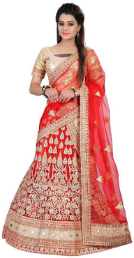 Shagun Prints Multicoloured Net A-line Unstitched Lehenga