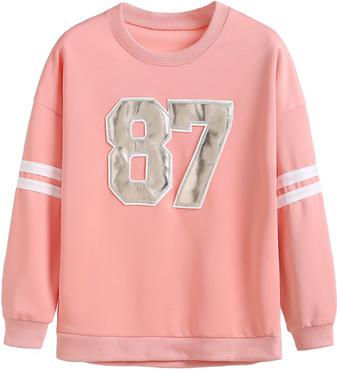 numbers patch varsity sweatshirt