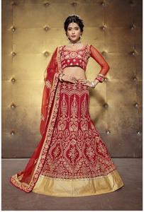 red bangalore silk lehenga