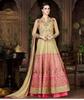 Silk Hand Work Beige & Pink Unstitched Long Anarkali Suit - A4801