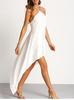 White Chain Halter Neck Asymmectric Dress